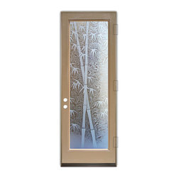 Sans Soucie Art Glass (door frame material Plastpro) - Glass Front Entry Door Sans Soucie Art Glass Bamboo Shoots 3D - Sans Soucie Art Glass Front Door with Sandblast Etched Glass Design. Get the privacy you need without blocking the light, thru beautiful works of etched glass art by Sans Soucie!  This glass is semi-private.  (Photo is view from outside the home or building.)  Door material will be unfinished, ready for paint or stain.  Bronze Sill, Sweep and Hinges. Available in other sizes, swing directions and door materials.  Dual Pane Tempered Safety Glass.  Cleaning is the same as regular clear glass. Use glass cleaner and a soft cloth.