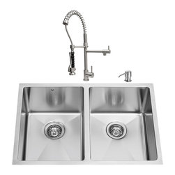 "VIGO Industries - VIGO All in One 29-inch Undermount Stainless Steel Double Bowl Kitchen Sink and - Enhance the look of your kitchen with a VIGO All in One Kitchen Set featuring a 29"" Undermount kitchen sink, faucet, soap dispenser, two matching bottom grids and two sink strainers."