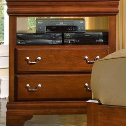 Vaughan Bassett - 2-Drawer Media Chest w 1 Shelf in Cherry Fini - 2 Drawers. 1 Open Shelf. Cherry finish. Assembly required. 34 in. W x 18 in. D x 38 in. H