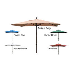 None - Premium 10' Rectangular Patio Umbrella - Durable construction and breathable fabric highlights this outdoor patio umbrella. This umbrella features a handy crank-lift system.