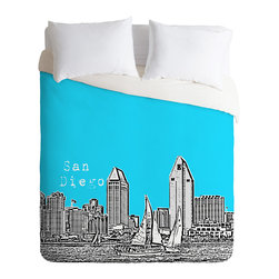 DENY Designs - Bird Ave San Diego Sky Duvet Cover - Turn your basic, boring down comforter into the super stylish focal point of your bedroom. Our Luxe Duvet is made from a heavy-weight luxurious woven polyester with a 50% cotton/50% polyester cream bottom. It also includes a hidden zipper with interior corner ties to secure your comforter. it's comfy, fade-resistant, and custom printed for each and every customer.