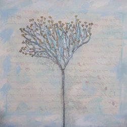 Original Contemporary  Pastel Tree Baby Blue Blossom Wall Art: Fresh Air - Serene Peaceful Nature Tree Painting