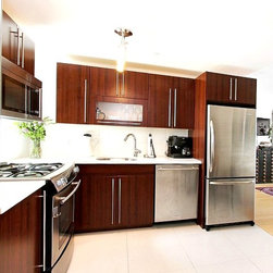 City View Tower - Contemporary kitchen located in Brooklyn. Flat style wood door, white quartz counter-tops, and stainless steel appliances.