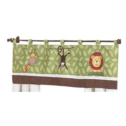 Sweet Jojo Designs - Jungle Time Window Valance - The Jungle Time window valance will help complete the look of your Sweet Jojo Designs room. This valance softens the look of the window and obscures pulled up blinds. It will coordinate nicely with your Sweet Jojo Designs bedding or can be used as an accent with your own room design.
