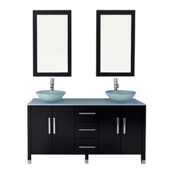 "JWH Imports - 59"" Sirius Double Vessel Sink Modern Bathroom Vanity with Glass Top - Double trouble, the bathroom edition ... enjoy side by side ablutions with a sleek modern flare. This sink vanity boasts a glass top and ultrachic sink basins. With ample storage space, this stylish piece is built to last a lifetime."