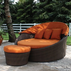 "Hospitality Rattan Grenada Patio Orbital Daybed with Sunbrella Cushions - Viro F - With a plump inner cushion and plenty of pillows, the Hospitality Rattan Grenada Patio Orbital Daybed Set with Sunbrella Cushions - Viro Fiber Antique Brown is indeed the lap of luxury. The Grenada Collection has a modern, tropical feel that offers a clean look for any patio area - not to mention the convenience of all-weather wicker. Supported by an aluminum frame wrapped in high quality antique brown Viro fiber, this all-weather outdoor daybed boasts a smooth round shape and a removable canopy, cushion, and three pillows made with durable, fade-resistant Sunbrella fabric in a bright Tuscan orange hue.About Sunbrella Sunbrella has been the leader in performance fabrics for over 45 years. Impeccable quality, sophisticated styling and best-in-class warranties prove the new generation of Sunbrella offers more possibilities than ever. Sunbrella fabrics are breathable and water-repellant. If kept dry, they will not support the growth of mildew as natural fibers will. Beautiful and durable, Sunbrella is a name you can trust in your outdoor furniture.Cleaning and Caring for Sunbrella Regular maintenance is the best way to keep your Sunbrella fabrics looking good and delay deep, vigorous cleaning. Brush off dirt before it becomes embedded in the fabrics, and wipe up spills as soon as they occur. For light cleaning, use a mild soap and water solution and a sponge, allowing your cleaning solution to soak into the fabric. Rinse thoroughly to remove all soap residue and allow fabric to air dry.About Hospitality Rattan Hospitality Rattan has been a leading manufacturer and distributor of contract quality rattan, wicker, and bamboo furnishings since 2000. The company's product lines have become dominant in the Casual Rattan, Wicker, and Outdoor Markets because of their quality construction, variety, and attractive design. Designed for buyers who appreciate upscale furniture with a tropical feel, Hospitality Rattan offers a range of indoor and outdoor collections featuring all-aluminum frames woven with Viro or Rehau synthetic wicker fiber that will not fade or crack when subjected to the elements. Hospitality Rattan furniture is manufactured to hospitality specifications and quality standards, which exceed the standards for residential use. Hospitality Rattan's Environmental Commitment Hospitality Rattan is continually looking for ways to limit their impact on the environment and is always trying to use the most environmentally friendly manufacturing techniques and materials possible. The company manufactures the highest quality furniture following sound and responsible environmental policies, with minimal impact on natural resources. Hospitality Rattan is also committed to achieving environmental best practices throughout its activity whenever this is practical and takes responsibility for the development and implementation of environmental best practices throughout all operations. Hospitality Rattan maintains a policy of continuous environmental improvement and therefore is a continuing work in progress. Hospitality Rattan's Environmentally Friendly Manufacturing Process All of Hospitality Rattan products are green. From its basic raw materials of rattan poles, peels, leather, bamboo, abaca, lampacanay, wood, leather strips, and boards, down to other materials like nails, staples, water-based adhesives, finishes, stains, glazes and packing materials, all have minimum impact to the environment and are safe, biodegradable, recycled, and mostly recyclable. Aside from this, the products have undergone an environmentally-friendly process that makes them """"greener."""" The company's rattan components are sourced from sustained-yield managed forests, which means the methods used to grow and harvest the rattan vines ensure the long-term life of the forest and protect the biodiversity of the forest's ecosystems. Hospitality Rattan is committed to buying and using all materials, from rattan and hardwood to finishing materials, from reputable and renewable suppliers and seeks appropriate evidence that suppliers are in compliance with this policy. Hospitality Rattan strives to use materials that are processed in an environmentally responsible manner, or consist of a high level of recycled material. Finishing materials and stains used in Hospitality Rattan's furniture products consist of 75% water-based solutions which evaporate upon application with reduced or Volatile Organic Compounds (VOCs). The furniture factories use water-based glues, stains, topcoats and other finishes on all of their products. The switch from traditional solvent-based processes to water-based processes involved consolidating several processes by the factories, resulting in an 85% reduction in VOC emissions."