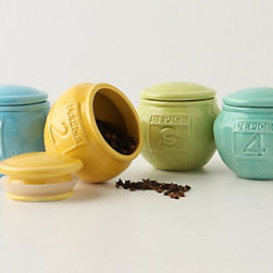 L'Epice Jar - These sweet little ceramic spice jars come in slightly muted, cheery colors.