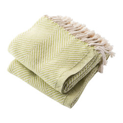 Brahms Mount - USA Made Brahms Mount Cotton Herringbone Throw, Apple Green, Throw - Cotton throw blanket with hand twisted fringe made in the USA by Brahms Mount of Maine since 1983.