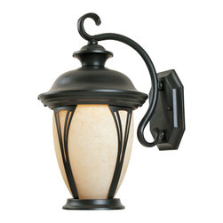 Designers Fountain - Designers Fountain Westchester Traditional Outdoor Wall Sconce X-ZB-MA-13503 - Bring the sleek style of the Old World lanterns to your porch, patio, garage, or main gate with this traditional wall sconce. The bronze finish ensures premium quality and durability. The amber shade with curved styling provides a friendly glow and creates a cheery atmosphere.
