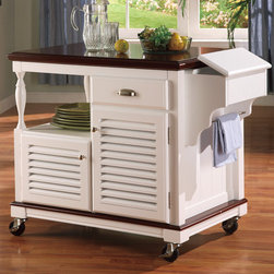 Wildon Home � - Clark Dale Kitchen Cart - Features: -Traditional style.-Solid birch and veneers.-Industrial grade caster wheels.-One drawer.-Two doors.-Cherry and white finish.-Collection: Clark.-Distressed: No.-Country of Manufacture: United States.Dimensions: -Overall dimensions: 34'' H x 42'' W x 24'' D.-Overall Product Weight: 106.48 lbs.