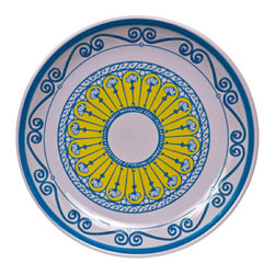 "Bongenre - Bongenre Clarissa'S Sea & Sun 16""Dia. Heavy Duty Melamine Platter - This turquoise and bright, lemony-yellow platter is heavy-duty enough to use as a salad or pasta bowl; serve a steak or chicken dinner for 12; or use as a tray. Pretty enough to hang on the wall after use!"