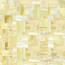 Block Party Jewel Glass Mosaic - Block Party, a hand cut jewel glass mosaic, is shown in Agate.