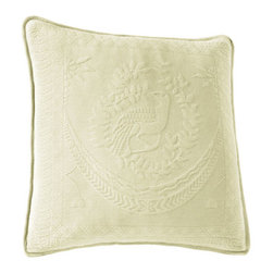 Historic Charleston Collection - King Charles Matelasse Ivory 20-Inch Square Decorative Pillow-Only - - Steeped in Historic Charleston?s rich classic style and decorative arts culture the King Charles 100% cotton matelass� bedding collection offers a unique blend of European Caribbean and Asian influences.   - King Charles matelass� bedding offers a luxuriously soft bedspread coverlet bed skirt shams and decorative accent pillows featuring classic 19th century motifs representing the sun a topiary a pheasant and a pineapple.   - The superior design of the King Charles matelass� bedding ensemble can be traced back to England circa 1820 incorporating key influences from that time period including the fine arts and superior craftsmanship.   - Each piece is crafted individually on special weaving looms to create the luxurious design that defines this lovely matelass� bedding collection.   - Highs and lows created during the jacquard weaving process allow the intricate designs and motifs to come to life.   - Designs from the archives of Historic Charleston?s heritage were interpreted to create the lovely King Charles bedding set.   - Rolling arches half-moons double diamonds and scrolling vine details wrap around the classic topiary pheasant sun and pineapple motifs.   - Coverlet and bedspread drape beautifully over the bed to reveal rounded corners.   - Pair the bedspread or coverlet with bed skirt to create a complete look.   - Add coordinating decorative shams and pillows to create the ultimate bedroom oasis.   - The heavy-weight stonewashed matelass� of King Charles bedding ensures life-long durability and style for generations to come.   - Crafted in Portugal.   - Stone-washed.   - 100% cotton matelass�.   - The Historic Charleston Foundation was established in 1947 and is a nonprofit organization whose mission is to preserve and protect the historical architectural and material culture that make up Charleston?s rich and irreplaceable heritage.   - No decorative obj