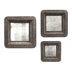 iMax - Jezant Mirror Tray Wall Decor, Set of 3 - This set of three mirrored trays are designed to hang , adding warm vintage charm to your wall decor. With an antique mirror finish that reflects light and offers an elegant patina, these trays area a great way to add depth to your room.
