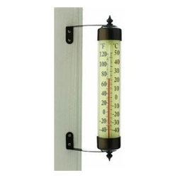 ConantCustomBrass - Grande View Thermometer Bronze Patina Finish - Conant Grande View Thermometer, 12.25 inch, Bronze Patina Finish, Conant Decor Collection (decor colors selected to match outdoor furniture and hardware). Anodized aluminum and glass, spirit tube thermometer. 12.25 inch tall x 2 inch dia. 10 year warranty