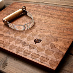 Personalized Carved Heart Engraved Wood Cutting Board by Wood Ink