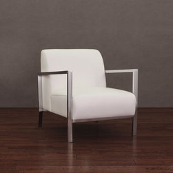 None - Modena Modern White Leather Accent Chair - Give any room a touch of modern style with this white leather chair from Modena. This accent arm chair features a sturdy metal frame with an attractive chrome finish. The seat and back are upholstered in white leather and padded for comfort.