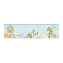 RoomMates - Woodland Animals Peel and Stick Border - RMK1420BCS - Shop for Wallborders from Hayneedle.com! Whimsical animals including a deer fox rabbit owls and more will bring a fun touch of the outdoors to your room on the Woodland Animals Peel and Stick Border. Bright colors and a variety of patterns on this wall border will make it a hit with both kids and adults. And because it's made from durable flexible vinyl and can be repositioned as many times as you like you can get a perfect application or move your wall border to a new room in no time. And all without damaging your walls or peeling the paint. Create a complete coordinated room effect by adding the Woodland Animals Wall Decals (sold separately).Additional Features:Remove and reapply as many times as you likeWipe clean with soft damp cloth and mild soapDon't use glass cleaner; may cause colors to runAbout Roommates:Roommates a subsidiary of York Wallcoverings Inc creates some of the most versatile and unique wall decor you'll find. Their innovative wall decals feature a removable and endlessly reusable design allowing you to move and rearrange your decals as often as you like all without causing any damage to your walls or furnishings. This means you can apply them without worry or headache since you don't have to get the application perfect the first time. RoomMates work on any smooth surface and are particularly ideal for temporary decorating such as around the holidays. All RoomMates products are proudly made in the USA and are made from non-toxic materials so they're as safe for your kids and pets as they are for your walls.Please note this product does not ship to Pennsylvania.