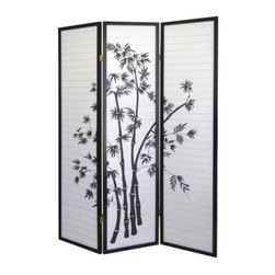 ORE International - 3-Panel Wood & Paper Room Divider with Bamboo - Lovely bamboo silhouettes. Folds flat for easy storage. Rice paper panels. Wooden frame. White and Black Finish. 50 in. L x 6 in. W x 70 in. H (10 lbs.)Create privacy, add texture or define a space with this handsome room divider.Traditional Asian inspired design elements highlight this graceful Shoji style screen. The screen will add both architectural interest and an artistic look to any decor.