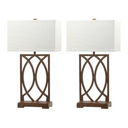Safavieh - Jago Table Lamp ZMT-LIT4274A (Set of 2) - Artfully crafted of interlocking arcs of antique bronze metal, the Jago table lamps is ideal for transitional rooms. The chic new rectangular lines of a crisp white texted cotton shade contrast a graceful base with old world crackle finish. (Sold in set of 2).