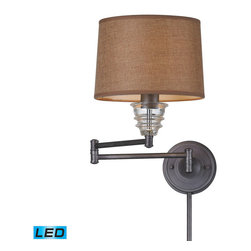 Elk Lighting - Landmark Lighting insulator Glass 66824-1-LED 1 Light Swingarm Sconce in Weather - 66824-1-LED 1 Light Swingarm Sconce in Weathered Zinc - LED Offering Up To 800 Lumens belongs to Insulator Glass Collection by Landmark Lighting The Insulator Glass Collection Was Inspired By The Glass Relics That Adorned The Top Of Telegraph Lines At The Turn Of The 20Th Century.��_��__ Acting As The Centerpiece Of This Series Is The Recognizable Shape Of The Glass Insulator, Made From Thick Clear Glass That Is Complimented By Solid Cast Hardware Designed With An Industrial Aesthetic. Finishes Include Polished Chrome, OiLED Bronze, And Weathered Zinc. - LED Offering Up To 800 Lumens (60 Watt Equivalent) With Full Range Dimming. Includes An Easily Replaceable LED Bulb (120V). Swingarm Sconce (1)
