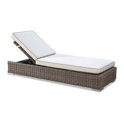 Thos. Baker - Wicker Outdoor Chaise Lounge | Hampton Collection - Oversized seating in all-weather wicker with a slightly weathered look inspired by classic whitewashed country home styles. Premium, dyed-through resin wicker with an extra large diameter profile and elegant ocean gray finish. Powder-coated aluminum subframe and brushed aluminum feet.Plush Sunbrella cushion sets included where applicable. Choose quick ship in khaki with cocoa piping, stone green or choose from our made-to-order fabric options.Made-to-order cushion sales are final and ship in 2-3 weeks.