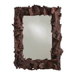 Kathy Kuo Home - Kazu Root Mangrove Wood Rectangular Modern Art Mirror - This three-dimensional mirror stands on its own as a piece of art, pulled from the great outdoors. Dark, rough mangrove wood is corralled to form the natural rectangular frame for a crystal clear smooth mirror within, culminating in a startling contrast.  This mirror will bring organic beauty to your industrial-style loft or modern home.