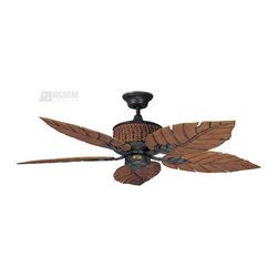 "Concord Fans - Concord Fans Fernleaf Breeze 52"" Tropical Indoor / Outdoor Ceiling Fan X-IR5BEF2 - From the Fernleaf Breeze Collection, this Concord Fans indoor/outdoor ceiling fan is ideal for casual or formal spaces thanks to its charmed tropical-inspired look. The fan blades take on the shape of large tropical leaves and are finished in a warm wood tone that is complimented by the darker Rustic Iron finish of the arms and motor."