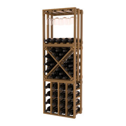 Lattice Stacking Cube - 3 Piece Set in Redwood with Oak Stain + Satin Finish - Designed to stack one on top of the other for space-saving wine storage our stacking cubes are ideal for an expanding collection. This 3-piece set comes with (1) X-Cube, (1) Stemware Cube and (1) 4 Column Cubicle. Use as a stand alone rack in your kitchen or living space or pair with more stacking cubes as your wine collection grows.