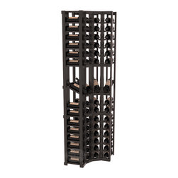 Wine Racks America® - 4 Column Display Cellar Corner in Redwood, Black Stain + Satin Finish - Unique corner wine racks obtain maximal storage capacity with style. Display 4 coveted vintages without sacrificing proper wine storage. We back the quality of every rack with our lifetime warranty. Designed with emphasis on functionality, these corner racks fit seamlessly into our modular line of wine racks.
