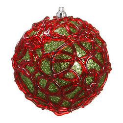 Silk Plants Direct - Silk Plants Direct Glittered Swirl Pattern Ball Ornament (Pack of 4) - Red - Silk Plants Direct specializes in manufacturing, design and supply of the most life-like, premium quality artificial plants, trees, flowers, arrangements, topiaries and containers for home, office and commercial use. Our Glittered Swirl Pattern Ball Ornament includes the following: