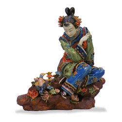China Furniture and Arts - Chinese Shi Wan Porcelain Lady - This porcelain figurine depicts a young Chinese lady sitting in a graceful pose. Her typical maiden hairdo adds to the cheerful playfulness of her character. Completely hand crafted from Shi-Wan, Canton China.
