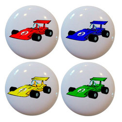 Carolina Hardware and Decor, LLC - 4 Race Car Ceramic Knobs - Set of four new 1 1/2 inch ceramic cabinet, drawer, or furniture knobs with mounting hardware included. Also works great in a bathroom or on bi-fold closet doors (may require longer screws). Item(s) can be wiped clean with a soft damp cloth. Great addition and nice finishing touch to any room!