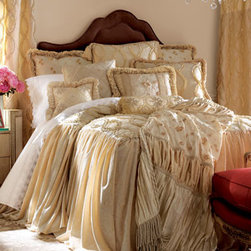 """Dian Austin Couture Home - Dian Austin Couture Home Faux Pearls Square Pillow - Exclusively ours. A lush mixture of crushed velvet, ruffles, and hand-appliquéd accents make up the rich ingredients of this Dian Austin Couture Home® bedding. Three-panel adjustable dust skirts have an 18"""" drop. Patched throw features embro..."""