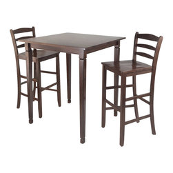 Winsome - Winsome Kingsgate 3 Piece Square Pub Dining Set in Antique Walnut - Winsome - Dinette Sets - 94369 -