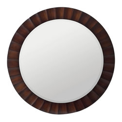 Cooper Classics - Savona Mirror - The square pattern inlay is an interesting and decorative contrast to the circular shape of this mirror.