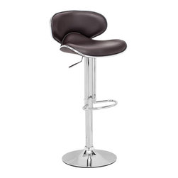 Zuo Modern - Fly Barstool Espresso - With high back and plush seat, the Fly has the most comfort for a barstool. It has a leatherette seat, a hydraulic piston, and an chrome plated foot rest and steel base.