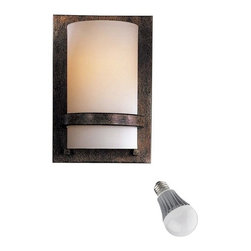 Minka Lighting - Sconce with Etched Opal Glass and LED Bulb - 342-357/8W LED - This sconce features etched opal glass set against a dark frame. A small band of metal holds the glass in place and provides a sharp contrast to the white glass. With its geometric form and daring texture combinations, this sconce will add timeless style to an entryway, or formal dining room. Includes one 9.5-watt LED bulb based on a breakthrough and patented technology to last 6 times longer than compact fluorescent bulbs and 35 times longer than an incandescent. Features a medium base with white diffuser and vented heat sink. Takes (1) 9.5-watt LED A19 bulb(s). Bulb(s) included. Dry location rated.