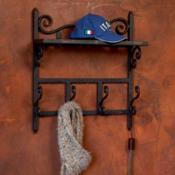 "Siena Coat Rack - This hand forged iron Siena coat rack is inspired by the classic elegance of a beautiful Tuscan vineyard this line of wrought iron serving pieces and accessories brings old world elegance to your home. Dimensions: 20"" x 9"" x 23""h"