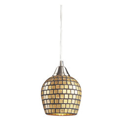 Elk Lighting - Fusion 1-Light Pendant in Satin Nickel and Gold Mosaic Glass - Individuality is what defines this exquisite line of hand blown glass. Each piece is meticulously hand blown with up to three layers of uncompromising beauty and style.