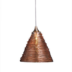 Shakuff - Pyramid Glass Pendant Light, Translucent Amber - Invoke images of ancient pyramids and distant lands. Fashioned from handblown glass, this triangular pendant is swathed in metallic coils producing a truly exotic allure. Your room will be bathed in the golden hues favored by pharaohs.