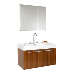 Fresca - Fresca Vista Teak Modern Bathroom Vanity w/ Medicine Cabinet - A spacious one basin vanity is a chic addition to any decor.  Ideal for anyone looking for a winning combination of style, sleek design, and size that brings it all together to present something dashingly urban.  A simple, sleekly chic design that compliments any interior that demands to be updated to a strong streamlined space.  A beautiful widespread chrome faucet is also included.  Optional side cabinets are available.