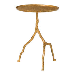 Kathy Kuo Home - Forest Park Antique Gold Hammered Iron Sculpted Side Table - This piece looks like it stepped out of a fairy tale.  Crafted in distressed gold leafed metal, the legs appear to be cast from tree branches.  Organic style with an eclectic edge comes to life in this piece, which is practically guaranteed to spark comments and ignite the imagination.
