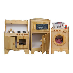 Little Colorado - Little Colorado 3 Piece Natural Play Kitchen Room Set - LC159 - Shop for Cooking and Housekeeping from Hayneedle.com! Your little ones will learn all the ins and outs of home making with the Little Colorado 3 Piece Natural Play Kitchen Room Set. With the play kitchen they'll wash prep and saute the finest play cuisine. The 36 lb. hardwood body of this kid-sized kitchen features a stainless steel sink with turning knobs a stove and working cabinet doors to store all those pots and pans or to become a pretend oven.Add some plastic food and the play refrigerator is a key part of any little chef's kitchen of imagination. Sized just right for the little ones this 40 lb. hardwood refrigerator features separate freezer and refrigerator compartments with interior shelf doors as well as ventilation and pinch protection. No assembly is required and the freezer door comes with a chalkboard to complete the experience.Your kids get a sweeter deal than the rest of us because their final appliance can be both a washer and dryer at the same time. The smooth hardwood body weighs 37 lbs and features a crank on the front that turns the clothes as your children watch them tumble through the shatter-proof acrylic window. No assembly is required. Recommended ages 3-6 years. Dimensions: 24L x 14W x 34H inches. Little Colorado is a Green CompanyAll finishes are water-based low-VOC made by Sherwin Williams and other American manufacturers. Wood raw materials come from environmentally responsible suppliers. MDF used is manufactured by Plum Creek and is certified green CARB-compliant and low-formaldehyde. All packing insulation is 100% post-consumer recycled. All shipping cartons are either 100% post-consumer recycled or are made of recycled cardboard. About Little ColoradoBegun in 1987 Little Colorado Inc. creates solid wood hand-crafted children's furniture. It's a family-owned business that takes pride in building products that are classic stylish and an excellent value. All Little Colorado products are proudly made in the U.S.A. with lead-free paints and materials. With a look that's very expensive but a price that is not Little Colorado products bring quality and affordability to your little one's room.