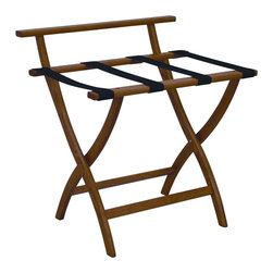 """Wooden Mallet - Luggage Rack w Standard Black Webbing in Medi - Our unique """"Wall Saver"""" feature prevents costly wall damage. Has multiple uses when it doubles as a breakfast tray holder or blanket stand. Folds flat and is easily stored in a closet or against a wall when not in use. Four 2 in. woven straps support heavy suitcases. Graceful, curved legs add a designer flair. Rated to hold suitcases up to 100 lbs.. Built using solid oak construction and state-of-the-art finish for heavy use and lasting beauty.  Made in the USA. No assembly required. All Wooden Mallet products are warranted for 1 year against defects in materials and workmanship. Overall: 29.5 in. L x 23.75 in. W x 18 in. H (7 lbs.). Open: 29.5 in. L x 23.75 in. W x 18 in. H. Closed: 29.5 in. L x 23.75 in. W x 4.5 in. HGive your guest room the feeling of a four star hotel with this beautiful luggage rack. Built using solid oak and sturdy webbing, even the heaviest suitcases are easily supported by the four 2 in. wide woven straps. Our unique """"Wall Saver"""" feature prevents costly wall damage. This luggage rack has multiple uses when it doubles as a breakfast tray holder or blanket stand. These luggage racks fold and unfold easily. Take it out for guests, and then fold it up for easy storage. It is also a great in the master bedroom for packing suitcases for business trips or vacations."""