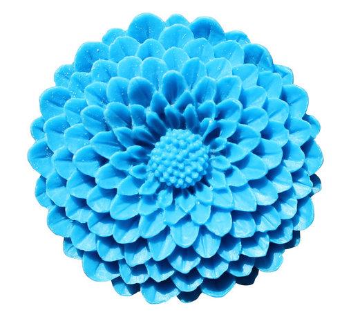 DaRosa Creations - Flower Drawer Knobs - Cabinet Knobs Mum In Ocean Blue Large - Flower Drawer knobs - Cabinet Knobs Mum in Ocean Blue