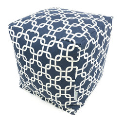 Majestic Home - Indoor Navy Blue Links Small Cube - The classic beanbag just got cubed — with a cool chain pattern on cotton twill. Fabulous and comfortable, this versatile piece functions as a stool or a table in your favorite modern setting.