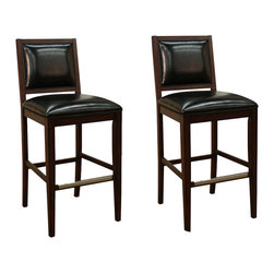 """American Heritage - American Heritage Bryant Stool in Espresso- 34 Inch (Set of 2) - Perhaps one of the most comfortable stationary stools on the market today. The 3"""" cushion sits on a woven web which will contour perfectly to your shape. The combination of bourbon leather against the antique black frame will surely compliment any decor."""