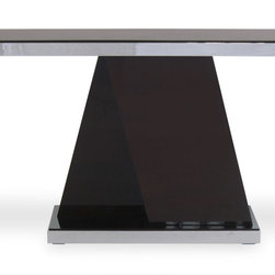 Zuri Furniture - Tribeca High Gloss Wood Console Table - The Tribeca set is finished with dark ebony wood and high gloss finish. With just a touch of chrome around the edge, its perfect for any high-end room.