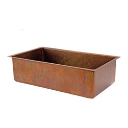 Premier Copper Products - 33 in. Antique Copper Hammered Kitchen Single - Configuration: Single Basin Sink. Design: Hammered Copper Surface. Color: Antique Copper (Brown). Note: Due to the handcrafted nature of this product, finish may vary. Inner Dimension:31 in. x 17 in. x 9 in.. Outer Dimension: 33 in. x 19 in. x 9 in.. Installation Type: Under Counter or Surface-Mount. Countertop Depth Required: 25 in. Front to Back. Material Gauge: Industry Best (14 Gauge or .0625 in.). Drain Size: 3.5 in.. Suggested Drain Models: D-130ORB, D-132ORB. Drain not included. Garbage Disposal: OK. Faucet Mounting: Counter Deck Mount. Hand Made. 100% Recyclable. Composition: 99.7% Pure Recycled Copper. Lead Free (< .01%). Patina: Fired. Packaging: Wood Crate. Warranty: Limited Lifetime. Includes Mounting & Care InstructionsUncompromising quality, beauty, and functionality make up this Premier 33 in. Copper Hammered Kitchen Single Basin Sink in Antique Copper Color. Each Premier Copper Sink is optimized to allow ample room to deck mount your faucet in a standard 25 in. countertop. Green Recyclable Products like Copper Sinks are a must have in today's modern home. This product is sure to impress your guests and satisfaction is always guaranteed.